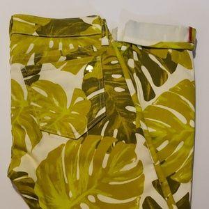 KATE SPADE Havana Leaf Print Capris size 26